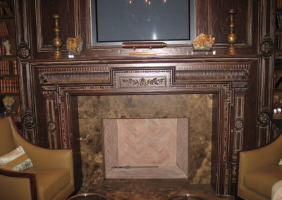 carved fireplace mantel